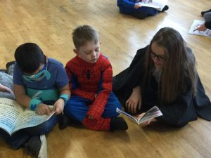 Reading with year 6.